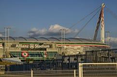 Τορίνο, Ιταλία, Piedmont - 8 Μαρτίου 2018 στις 18:15 προς το ηλιοβασίλεμα Το στάδιο Allianz στο Τορίνο Στοκ Φωτογραφία