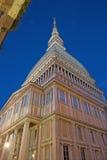 Τορίνο - ο πύργος Antonelliana τυφλοπόντικων στο σούρουπο Στοκ Φωτογραφίες