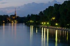 Τορίνο (Τουρίνο), άποψη νύχτας Στοκ Εικόνες
