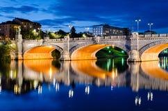 Τορίνο (Τουρίνο), γέφυρα Umberto I και ποταμός Po Στοκ φωτογραφία με δικαίωμα ελεύθερης χρήσης