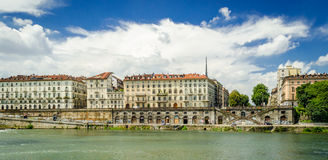 Τορίνο (Τουρίνο), ποταμός Po και Murazzi Στοκ Φωτογραφία