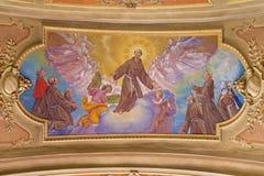 ΤΟΡΙΝΟ, ΙΤΑΛΙΑ - 13 ΜΑΡΤΊΟΥ 2017: Η νωπογραφία της δόξας του ST Francis Asissi στο ανώτατο όριο Church Chiesa Di Santo Tomaso Στοκ φωτογραφία με δικαίωμα ελεύθερης χρήσης