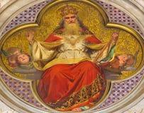 ΤΟΡΙΝΟ, ΙΤΑΛΙΑ - 15 ΜΑΡΤΊΟΥ 2017: Η νωπογραφία του Θεού ο πατέρας στην εκκλησία Chiesa Di SAN Dalmazzo από Enrico Reffo Στοκ Εικόνα