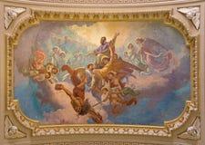 ΤΟΡΙΝΟ, ΙΤΑΛΙΑ - 15 ΜΑΡΤΊΟΥ 2017: Η δόξα ανώτατης νωπογραφίας του ST Francis των πωλήσεων στη βασιλική Μαρία Ausiliatrice εκκλησι Στοκ φωτογραφία με δικαίωμα ελεύθερης χρήσης