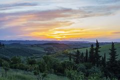 Τοσκάνη, ιταλική επαρχία, τοπίο στοκ εικόνα με δικαίωμα ελεύθερης χρήσης