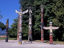 Τοτέμ Πολωνοί, Stanley Park, Βανκούβερ. Στοκ Εικόνες