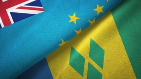 Τουβαλού και Άγιος Βικέντιος και Γρεναδίνες δύο υφαντικό ύφασμα σημαιών διανυσματική απεικόνιση