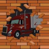Τουβλότοιχος και φορτηγό που προέρχονται από τη ρωγμή, διανυσματική απεικόνιση διανυσματική απεικόνιση