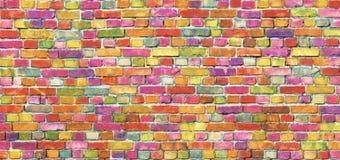 Τουβλότοιχος χρώματος, πολύχρωμη τεκτονική ανασκόπησης illustratin διανυσματική ταπετσαρία κοστουμιών ουράνιων τόξων άνευ ραφής κ Στοκ φωτογραφία με δικαίωμα ελεύθερης χρήσης