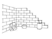 Τουβλότοιχος κατασκευής που χτίζει τη γραφική μαύρη άσπρη απεικόνιση τέχνης Στοκ Εικόνες