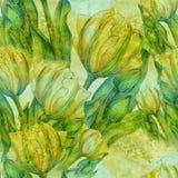 Τουλίπα - μια σύνθεση των λουλουδιών just rained πρότυπο άνευ ραφής απεικόνιση αποθεμάτων