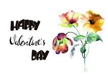 Τουλίπες και λουλούδια παπαρουνών με την ευτυχή ημέρα βαλεντίνων τίτλου Στοκ Εικόνα