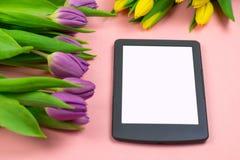Τουλίπες και ταμπλέτα με την άσπρη οθόνη προτύπων στο ρόδινο υπόβαθρο Ευχετήρια κάρτα για Πάσχα ή την ημέρα των γυναικών στοκ φωτογραφία
