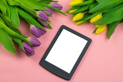 Τουλίπες και ταμπλέτα με την άσπρη οθόνη προτύπων στο ρόδινο υπόβαθρο Ευχετήρια κάρτα για Πάσχα ή την ημέρα των γυναικών στοκ φωτογραφίες