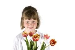 τουλίπες κοριτσιών Στοκ εικόνα με δικαίωμα ελεύθερης χρήσης