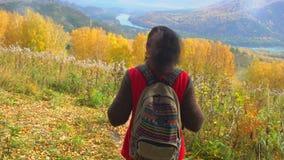 Τουρίστας γυναικών που περπατά στο δάσος πτώσης την ηλιόλουστη ημέρα φθινοπώρου Ταξιδιωτικών γυναικών οδοιπόρων στο βουνό, απόλαυ φιλμ μικρού μήκους