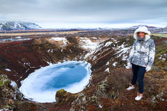 Τουρίστας ηφαιστείων Στοκ Φωτογραφία