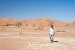 Τουρίστας που περπατά σε Sossusvlei, έρημος Namib, εθνικό πάρκο Namib Naukluft, scanic desetination ταξιδιού στη Ναμίμπια Περιπέτ Στοκ Εικόνες