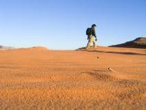 Τουρίστας που ταξιδεύει κατά μήκος της ερήμου ρουμιού Wadi, Ιορδανία Στοκ φωτογραφία με δικαίωμα ελεύθερης χρήσης