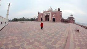 Τουρίστας σε Taj Mahal απόθεμα βίντεο