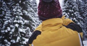 Τουρίστας στη μέση του βουνού, βρήκε μια θέση με ένα χιονώδες δασικό δέντρο, αυτός που παίρνει τις εικόνες για τις μνήμες απόθεμα βίντεο