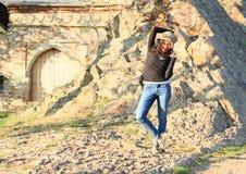 Τουρίστας στο κάστρο Tocnik Στοκ Φωτογραφίες