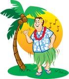 τουρίστας hula χορού διανυσματική απεικόνιση
