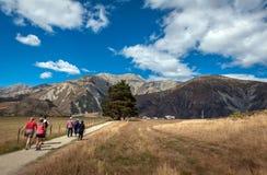 Τουρίστες που επισκέπτονται το Hill του Castle στις νότιες Άλπεις, πέρασμα του Άρθουρ, νότιο νησί της Νέας Ζηλανδίας Στοκ Φωτογραφία