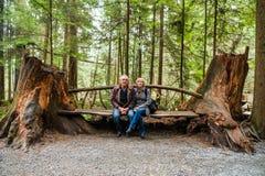 Τουρίστες που κάθονται στον πάγκο στο πάρκο γεφυρών αναστολής Capilano Στοκ εικόνες με δικαίωμα ελεύθερης χρήσης