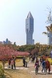 Τουρίστες που περπατούν στο πάρκο των ανθρώπων ένας από τον πιό πολυάσχολο στη Σαγκάη Αύριο τετραγωνικός ουρανοξύστης στο υπόβαθρ Στοκ Φωτογραφίες