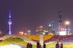 Τουρίστες που περπατούν στο φράγμα, το πιό φυσικό σημείο στη Σαγκάη Στο υπόβαθρο οι διασημότεροι κινεζικοί ουρανοξύστες Στοκ εικόνα με δικαίωμα ελεύθερης χρήσης