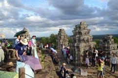 Τουρίστες σε Angkor Wat, Καμπότζη Στοκ Εικόνα