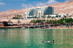 Τουρίστες στην παραλία της νεκρής θάλασσας στοκ φωτογραφία με δικαίωμα ελεύθερης χρήσης