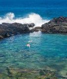 Τουρίστες στις βασίλισσες Beach Princeville Kauai στοκ φωτογραφία με δικαίωμα ελεύθερης χρήσης