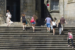 Τουρίστες στο Σαντιάγο de Compostela Στοκ εικόνα με δικαίωμα ελεύθερης χρήσης