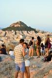 Τουρίστες στο Hill Areopagus Στοκ Φωτογραφίες