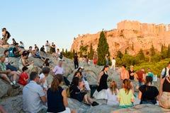 Τουρίστες στο Hill Areopagus Στοκ Εικόνες