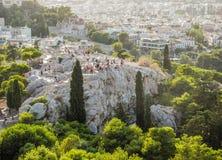 Τουρίστες στο Hill Areopagus Στοκ φωτογραφία με δικαίωμα ελεύθερης χρήσης