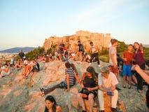Τουρίστες στο Hill Areopagus Στοκ φωτογραφίες με δικαίωμα ελεύθερης χρήσης