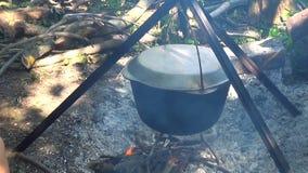 Τουρίστες τροφίμων στρατόπεδων Τρόφιμα στο δοχείο πέρα από την πυρκαγιά Μαγειρευμένος σε μια πυρκαγιά απόθεμα βίντεο