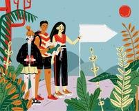 Τουρίστες φίλων που, που ταξιδεύουν και που πραγματοποιούν οδοιπορικό Ταξίδι, διακοπές, διακοπές και περιπέτεια απεικόνιση αποθεμάτων