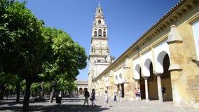 Τουρίστες Patio de Los Naranjos στον καθεδρικό ναό Λα Mezquita στην Κόρδοβα, Ισπανία - περιοχή παγκόσμιων κληρονομιών της ΟΥΝΕΣΚΟ απόθεμα βίντεο