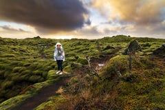 Τουρισμός Ισλανδία Eldhraun Στοκ εικόνα με δικαίωμα ελεύθερης χρήσης