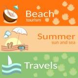 Τουρισμός παραλιών, καλοκαίρι, ήλιος και η θάλασσα, ταξίδια, διανυσματικά εμβλήματα διανυσματική απεικόνιση