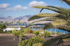 Τουριστική πόλη του BLANCA Playa, σε Lanzarote, των Κανάριων νησιών, Ισπανία Στοκ εικόνες με δικαίωμα ελεύθερης χρήσης