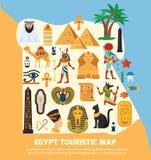 Τουριστικός χάρτης της Αιγύπτου διανυσματική απεικόνιση