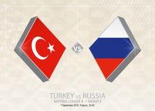 Τουρκία εναντίον της Ρωσίας, ένωση Β, ομάδα 2 Ανταγωνισμός ποδοσφαίρου της Ευρώπης Απεικόνιση αποθεμάτων