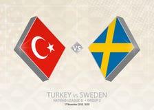 Τουρκία εναντίον της Σουηδίας, ένωση Β, ομάδα 2 Ανταγωνισμός ποδοσφαίρου της Ευρώπης Ελεύθερη απεικόνιση δικαιώματος