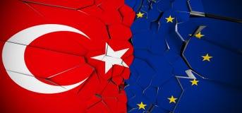 Τουρκία εναντίον των σημαιών έννοιας ένωσης της Ευρώπης απεικόνιση αποθεμάτων