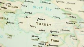 Τουρκία σε έναν χάρτη με Defocus απόθεμα βίντεο
